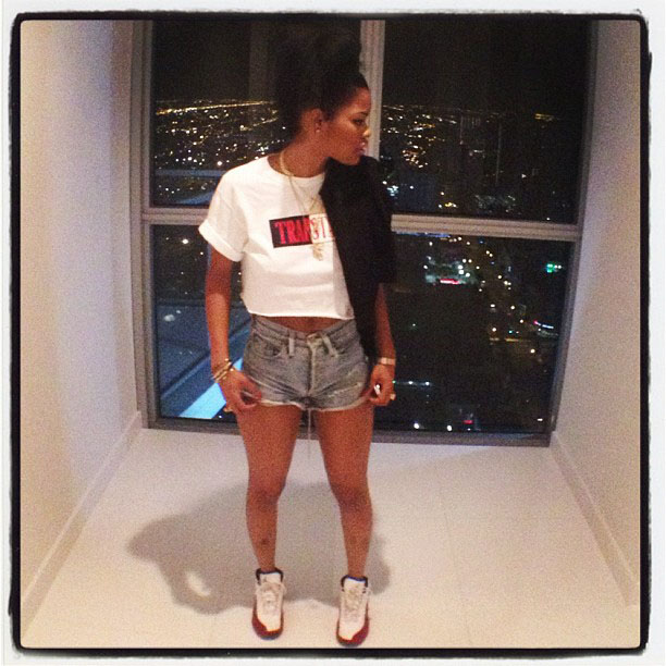 ... rocking the air jordan 12 white red does your chick rock dope sneakers